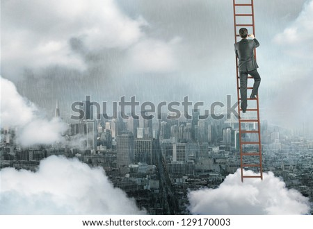 man climbing on ladder, urban business concept - stock photo