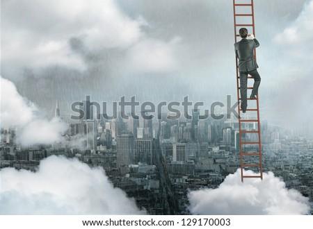 man climbing on ladder, urban business concept - stock photo