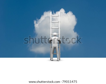 man climbs the ladder of success and a virtual career - 3d illustration - stock photo