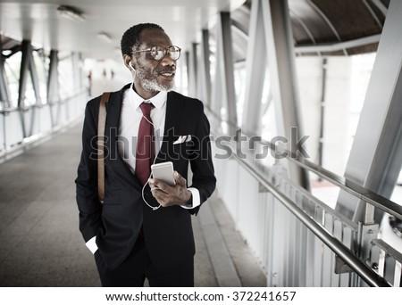 Man Commute Walking Business Concept - stock photo