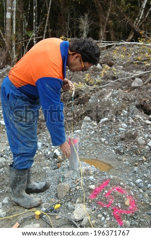 Man connects up cable for seismic test, Westland, New Zealand. The PVC pipe contains the explosive 4m down. - stock photo
