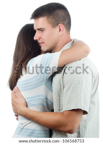Man consoling his girlfriend isolated on white. - stock photo