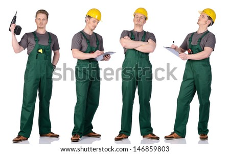 Man construction worker in overalls and helmet holding a clipboard. Isolated on white background. - stock photo