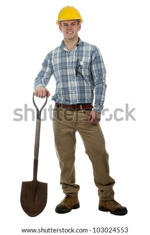 man construction worker with hard hat and shovel ready to work - stock photo