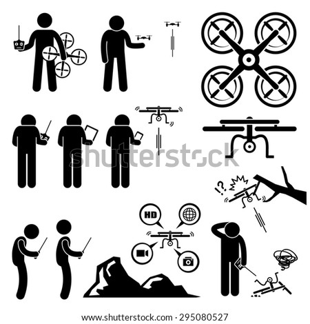 Man Controlling Flying Drone Quadcopter Stick Figure Pictogram Icons - stock photo