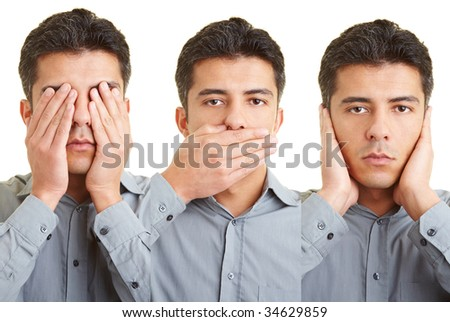 Man covering mouth, eyes and ears and re-enacts the proverb of the three wise monkeys (see no evil, hear no evil, speak no evil) - stock photo