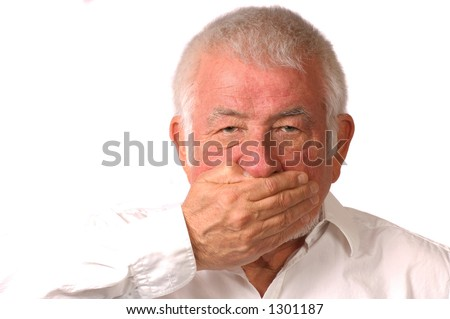 Man covers mouth, won't talk - stock photo