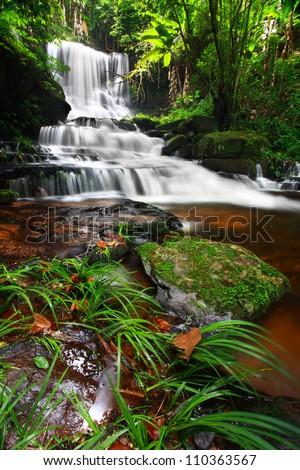 Man Daeng Waterfall, Phu Hin Rong Kla; National Park at Phitsanulok, Thailand - stock photo