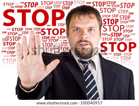 Man denies gesture. Background with the words Stop - stock photo