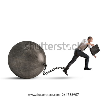 Man determined despite the weight of crisis - stock photo
