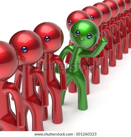 Man different people character stand out from the crowd unique individuality green think differ person otherwise welcome to new opportunities concept human resources hr icon. 3d render isolated - stock photo