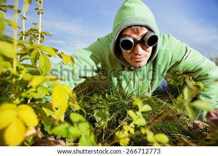 man discovers summer  - stock photo