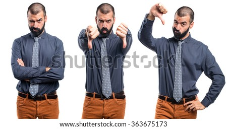 Man doing bad signal - stock photo