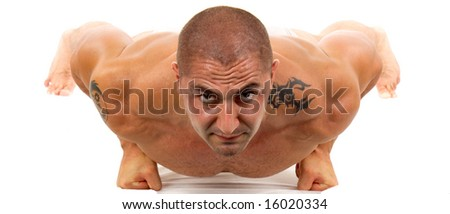 Man doing exercise on floor - stock photo