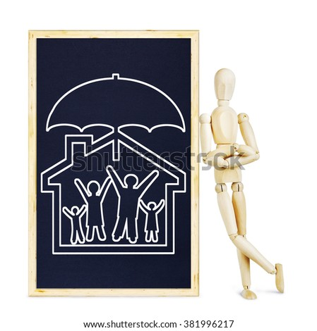 Man doing presentation about life and property insurance. Abstract image with a wooden puppet - stock photo