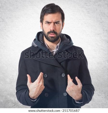 Man doing surprise gesture - stock photo