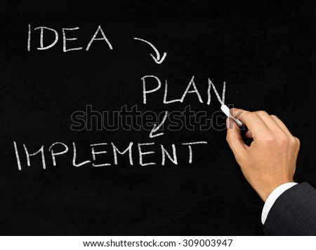 Man drawing business startup process with chalk on blackboard background - stock photo
