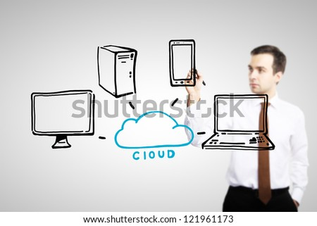 man drawing cloud computing diagram - stock photo