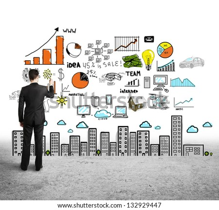 man drawing color concept city on white background - stock photo