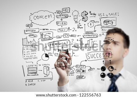 man drawing plan business concept - stock photo