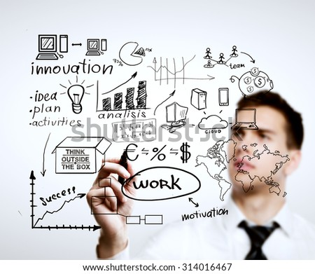 man drawing plan, business concept - stock photo