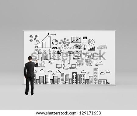 man drawing plan strategy success - stock photo