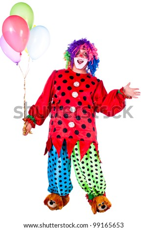 Man dressed as clown red. White background. Studio photography. - stock photo