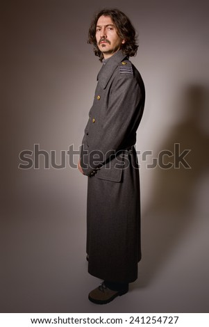 man dressed as russian military, full length - stock photo