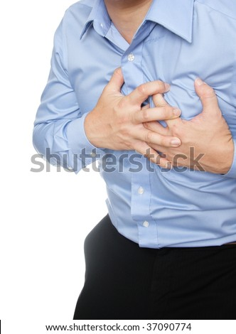 Man dressed in formal wear having a heart attack - stock photo