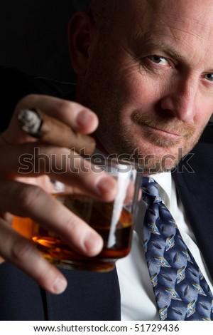 Man Drinking and Smoking - stock photo