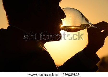 man drinking glass of wine at sunset - stock photo