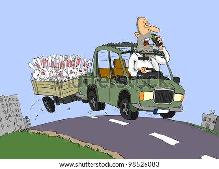 Man driving the car and trailer carrying a lot of bunnies - stock photo