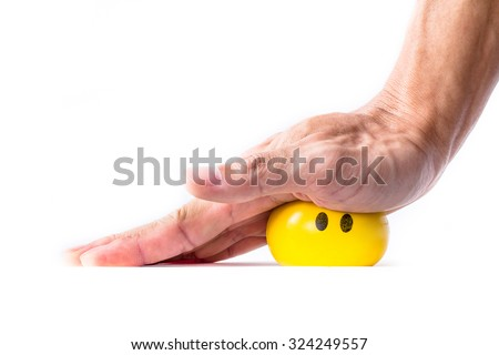 man elderly practicing holding, grabbing, pressing, and squeezing a soft ball as a way for treatment of Trigger finger, Digital flexor tenosynovitis - stock photo