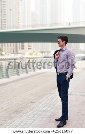 Man enjoying a business trip. - stock photo