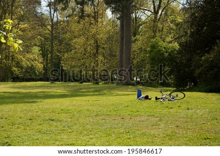 Man enjoying free time at the park - stock photo