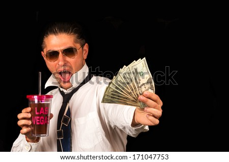 Man enjoying Las Vegas - stock photo