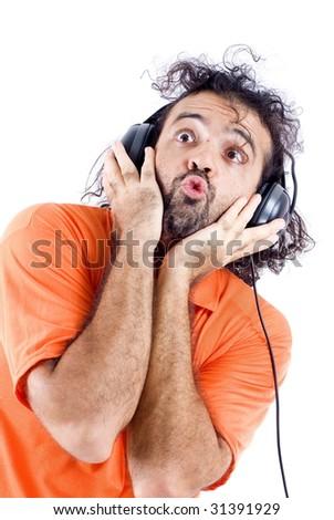 Man enjoying listening music with his headphones. - stock photo