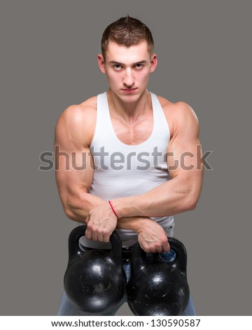 man exercising weight training workout fitness - stock photo