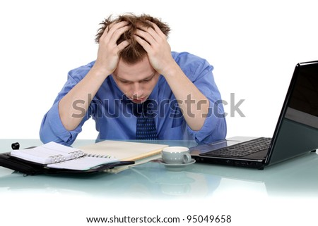 Man exhausted - stock photo