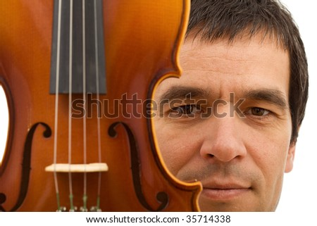 Man face behind with violin detail - closeup, isolated - stock photo