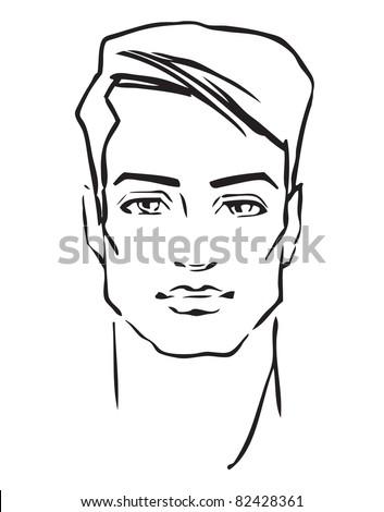 Man face. Hand-drawn fashion model. - stock photo