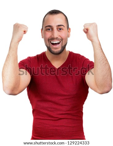 Man feels good and throws up his arms - stock photo