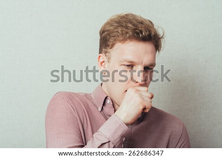 man fell ill and coughing - stock photo