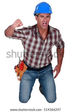 Man fighting for his rights - stock photo