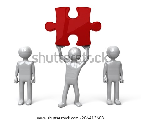 Man finds piece of the Puzzle. Silver figure holding up a red jigsaw piece amongst a group of other figures. Concept for problem solving or success.  3D rendered on white background. - stock photo