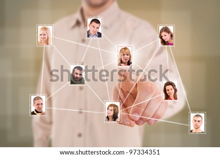 Man finger pressing a virtual Social Network picture - stock photo