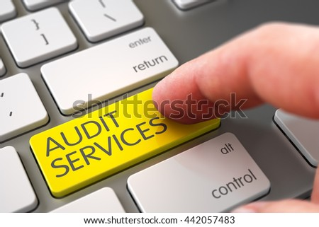 Man Finger Pushing Audit Services Yellow Button on Computer Keyboard. 3D. - stock photo