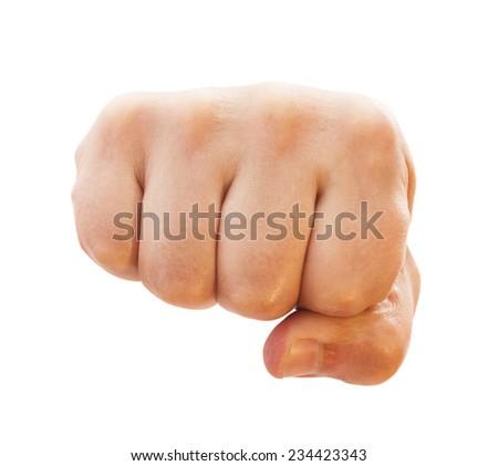 Man fist isolated on white - stock photo