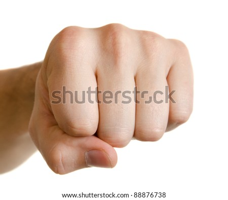 Man fist isolated on white background - stock photo