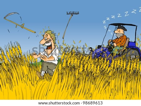 Man fleeing from the tractor in cereal fields - stock photo